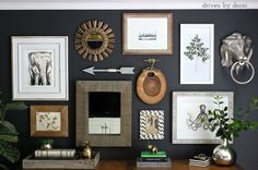 love the color and collection of odd items -- creating an eclectic gallery wall