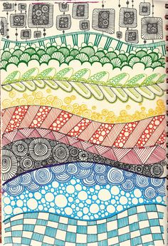 Large page drawing inspired by Zentangle Doodles Zentangles, Zentangle Patterns, Zen Doodle Patterns, Doodle Art Designs, Art Patterns, Color Patterns, Tangle Art, Inspiration Art, Doodle Drawings
