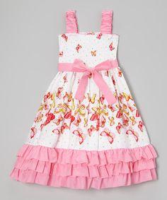 White & Pink Butterfly Ruffle Smocked Dress - Girls #zulily #zulilyfinds