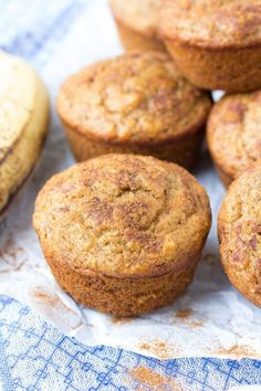 Easy Healthy Banana Muffins Recipe, made in one bowl! One of my most popular recipes, these best banana muffins are whole wheat and refined sugar free. Made with cinnamon and mashed banana, you can make them regular or mini muffin size. Cinnamon Recipes, Banana Recipes, Muffin Recipes, Baby Food Recipes, Dessert Recipes, Brunch Recipes, Free Recipes, Cook Desserts, Good Healthy Recipes