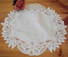 Vintage White Cotton Battenburg Lace Embroidery Doily