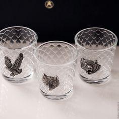 Купить Набор стопок ТРОФЕИ (волк+медведь+орёл) на троих в футляре (3х50мл) - стопка, рюмка, подарок мужчине