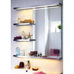 Koupelnové osvětlení Godmorgon Poskytuje rovnoměrné světlo; Délka: 70 cm Max.nosnost/police: 3 kg Zářivka T5 max 13W; Konzola: hliník; Stínidlo: polykarbonátový plast. Cena 1490 Kč.