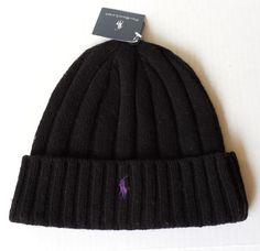 #POLO Ralph Lauren Black with Purple Logo beanie wool hat with cuff RalphLauren visit our ebay store at  http://stores.ebay.com/esquirestore