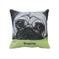 "Custom Pet Pug Pillows from Zazzle.com -   ""#cute #pug #custom #personalize #pillows #addtext #words #names #pets #dogs"""