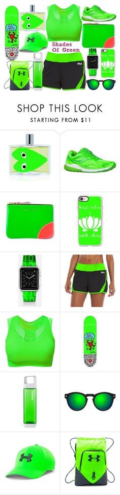 """Shades Of Green #4"" by quinn-avina ❤ liked on Polyvore featuring Comme des Garçons, Saucony, Casetify, Fila, Clean Bottle, Illesteva and Under Armour"