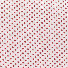 "Tissu blanc ""petits pois"" rouge"
