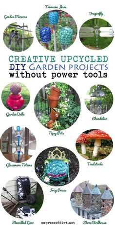 """Mom here is the actual website. or just hit the """"Website"""" button next to pin it and like it and it will take you there. http://www.empressofdirt.net/diywithoutpowertools/DIY Garden Art Projects Without Power Tools"""