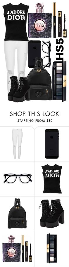 """""""Highschool #5"""" by veewers ❤ liked on Polyvore featuring River Island, Christian Dior, Versace, Yves Saint Laurent, school, black, Boots, contrast and blacknwhite"""