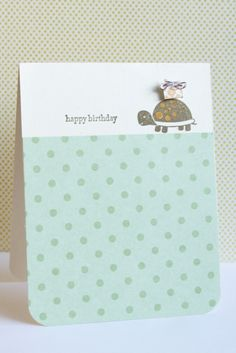 with small embellishment - use simple patterned paper to cover majority of card