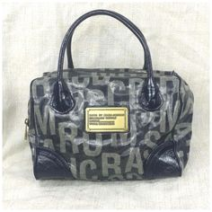 EUC Marc by Marc Jacobs Vinyl Coated Laminated Logo Monogram Swifty Bag Purse #MarcbyMarcJacobs #Satchel