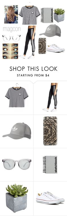 """Jasmine's Six Flags"" by emmagrayy on Polyvore featuring WithChic, adidas Originals, Casetify, Dolce&Gabbana, Paperchase, Pier 1 Imports and Converse"