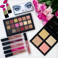 Huda beauty collection: Huda Beauty lashes in Farah, Huda Beauty eyeshadow palette in rose gold, Huda beauty liquid matte lipsticks (trendsetter, famous, bombshell, video star and girlfriend), Huda Beauty 3D highlighter palette in golden sands.