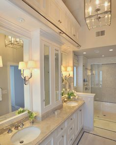 warm creams and white - traditional character ...can do same color with more modern fixtures