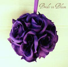 Wedding flower balls - SALE - flower girl pomander purple bouquet kissing ball wedding decoration. $12.00, via Etsy.
