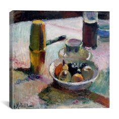 """Astoria Grand Fruit and Coffeepot (1898) Painting Print on Canvas Size: 12"""" H x 12"""" W x 0.75"""" D"""