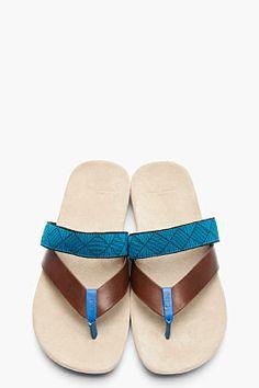 PAUL SMITH JEANS Blue Two-Strap Suede Kodiak Sandals