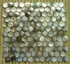 Black Mother of Pearl Hexagon Shell Mosaic Sheet for Shower...