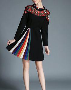 Black Rose Embroidered A Line Mini Dress