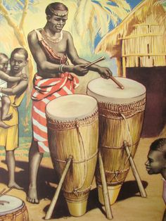 British African Drums Original Antique Children's Poster AGE: c. African Culture, African History, African Drum, Harlem History, Tiki Tattoo, Yoruba, Drums, Instruments, Kids Poster