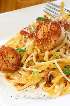 Pan Seared Scallops Carbonara from Art and the Kitchen