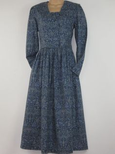 LAURA ASHLEY Vintage Classic Blue Paisley All-Seasons Day Dress, UK 12