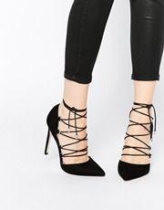 Zapatos de punta con tacón alto y cordones PROP de ASOS