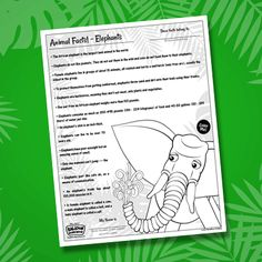 Elephant Facts For Kids, Fun Facts About Elephants, Preschool Lessons, Preschool Crafts, Fun Projects For Kids, Road Trip With Kids, Animal Facts, Children's Picture Books, Kids Reading