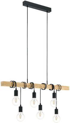 EGLO Townshend - Hanglamp - 6 Lichts - Zwart - Bruin