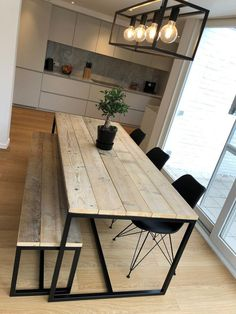 The beautiful tables of our customers. Wooden tables with steel frames-Die schönen Tische unserer Kunden. Holztische mit Stahlrahmen Industri … – Holz DIY Ideen The beautiful tables of our customers. Wooden tables with steel frame industri …, - Dining Room Table Decor, Dining Table In Kitchen, Dining Room Design, Dining Area, Kitchen Decor, Dining Rooms, Wood Table Design, Furniture Dining Table, Wooden Tables