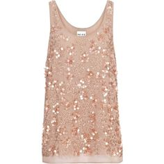 Reiss Kelly Sequin Top ($63) ❤ liked on Polyvore featuring tops, shirts, tank tops, tanks, blusas, dusty rose, sheer tank top, pink shirt, pink sequin tank top and sequin top