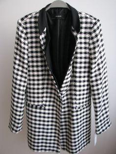 NWT ZARA Black Ecru HOUNDSTOOTH  Jacket COAT FROCK Size XL Ref.2240/698 #ZARA #BasicJacket #Casual