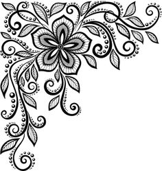beautiful black-and-white lace flower in the corner. : Vector Art                                                                                                                                                                                 More