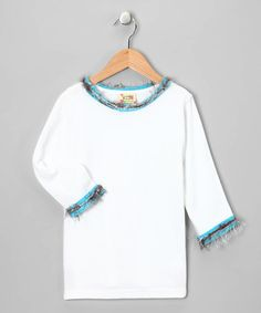 Take a look at this White & Turquoise Long-Sleeve Tee - Toddler & Girls by Cheeky Banana on #zulily today!