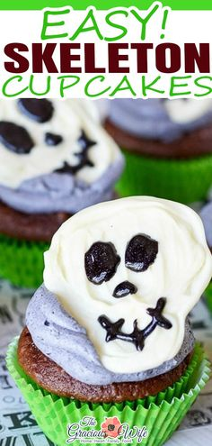 Spooky but fun Skeleton Cupcakes with chocolate skeletons on top of your favorite cupcakes are a perfect easy Halloween treat for kids! Are you gearing up for Halloween yet? By now, I usually have my house decked out in fall leaves and cinnamon candles with some spooky candlesticks and spiders thrown in until Halloween, but this year… Not so much. | @graciouswife #halloweencupcakes #skeletoncupcakes #halloweentreats #diyhalloweenparty #quickhalloweencupcakes Halloween Themed Food, Easy Halloween Food, Halloween Treats For Kids, Halloween Cupcakes, Cinnamon Candles, Kid Friendly Meals, Muffin Recipes, Food Inspiration, Fall Leaves