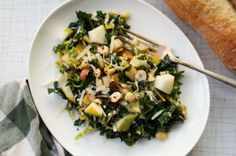 Browned butter brussels sprout pear hazelnut salad