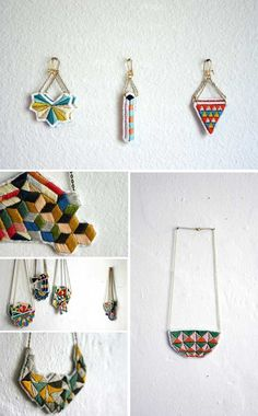stitched jewelry with geometric patterns - Lorena Marañon
