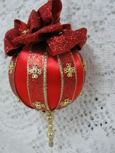 Handmade Beaded Christmas Tree Ornament Red & Gold Made in Texas OOAK by BobbyeDene