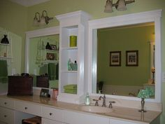 A larger mirror over a bathroom counter, decorated with trim and split in two by means of a shelving unit. Huge Mirror, Diy Mirror, Mirror Ideas, Double Mirror, Giant Mirror, Double Sinks, Mirror Inspiration, Mirror Trim, Long Mirror