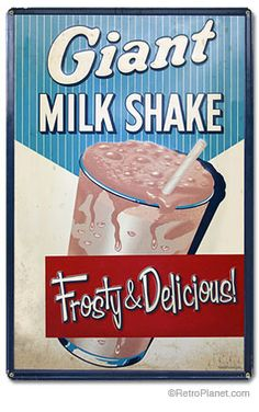 Milkshake Large Metal Sign