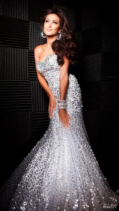 Shimmering Silver Evening Gown