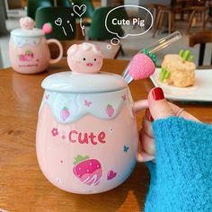 Ceramic Mug With Lid, Strawberry Farm, Kawaii, Cute Pigs, Cat Mug, Gift List, Mug Cup, Gifts For Girls, Creative Design
