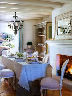 Lovely dining w/fireplace in Mallorca | Patterson Maker