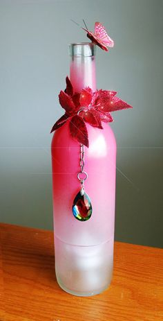 Embellished Wine Bottle Candle Holder by DSdecor on Etsy, $28.00