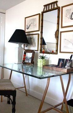 $10 Ikea Vika Lerberg Trestle legs - A Glass Top Desk for Our Home Office - Driven by Decor