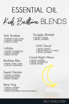 Help your little ones sleep easier with essential oil blends for bedtime. Sleepy Essential Oil Blend, Best Essential Oil Diffuser, Essential Oils For Sleep, Essential Oils Cleaning, Essential Oil Perfume, Essential Oil Uses, Bedtime, Sleep Better, Living Oils