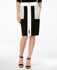 INC International Concepts Zip-Front Colorblocked Skirt, Only at Macy's