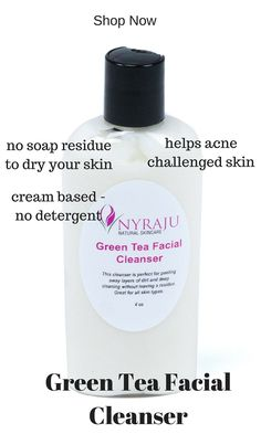 Whether you have sensitive, mature, dry, sun-damaged, combination, acne or normal skin, you will find that our Green Tea Facial Cleanser cream gently deep-cleans each pore, leaving your beautiful brown or black skin with a vibrant glow that everyone will notice. http://www.nyrajuskincare.com/greenteacleanser.html