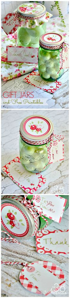 Super cute Gift Idea and FREE Printable at the36thavenue.com Loving the new Green #herritagecollection Jars!