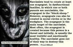 The ex-hole had a work scapegoat and more than one in the family - immediate and extended. Evil Narcopath!